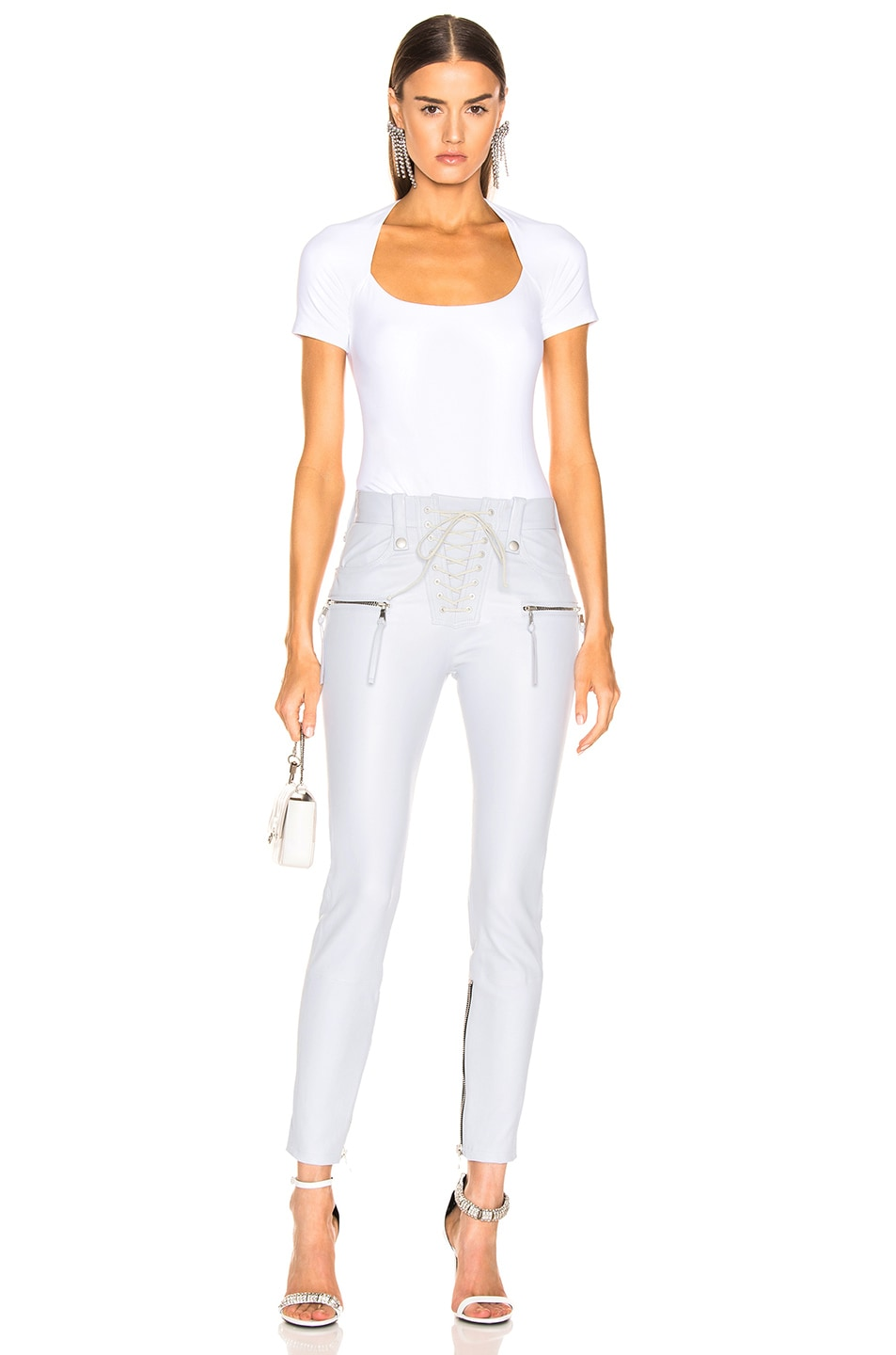 Image 4 of Unravel Plonge Lace Up Skinny Pant in Light Grey