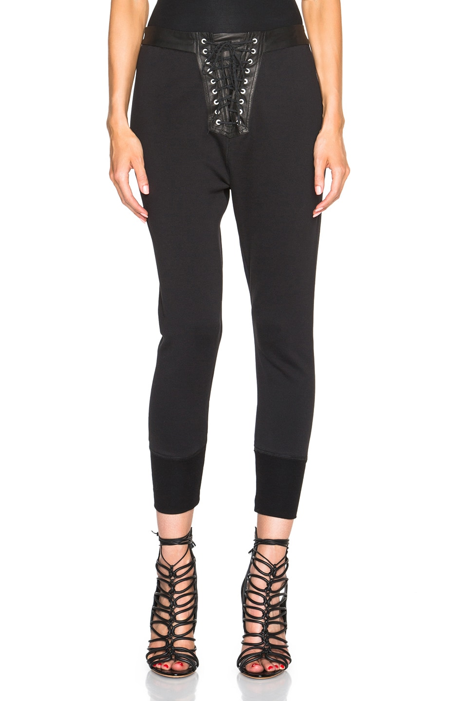 Image 1 of Unravel Lace Front Cotton & Leather Sweatpants in Black