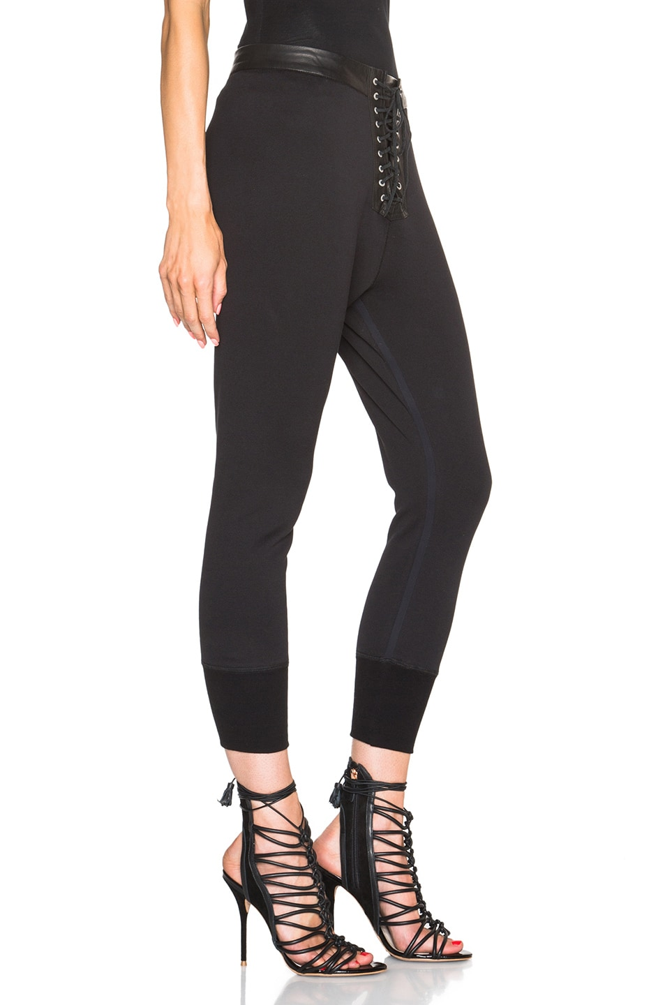 Image 3 of Unravel Lace Front Cotton & Leather Sweatpants in Black