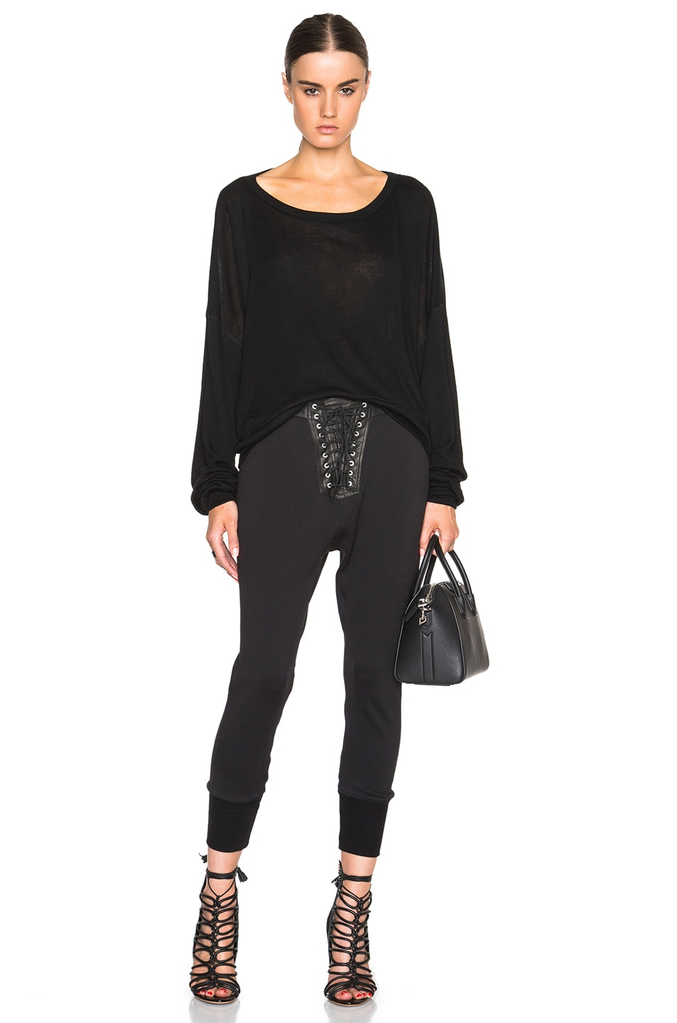 Image 5 of Unravel Lace Front Cotton & Leather Sweatpants in Black