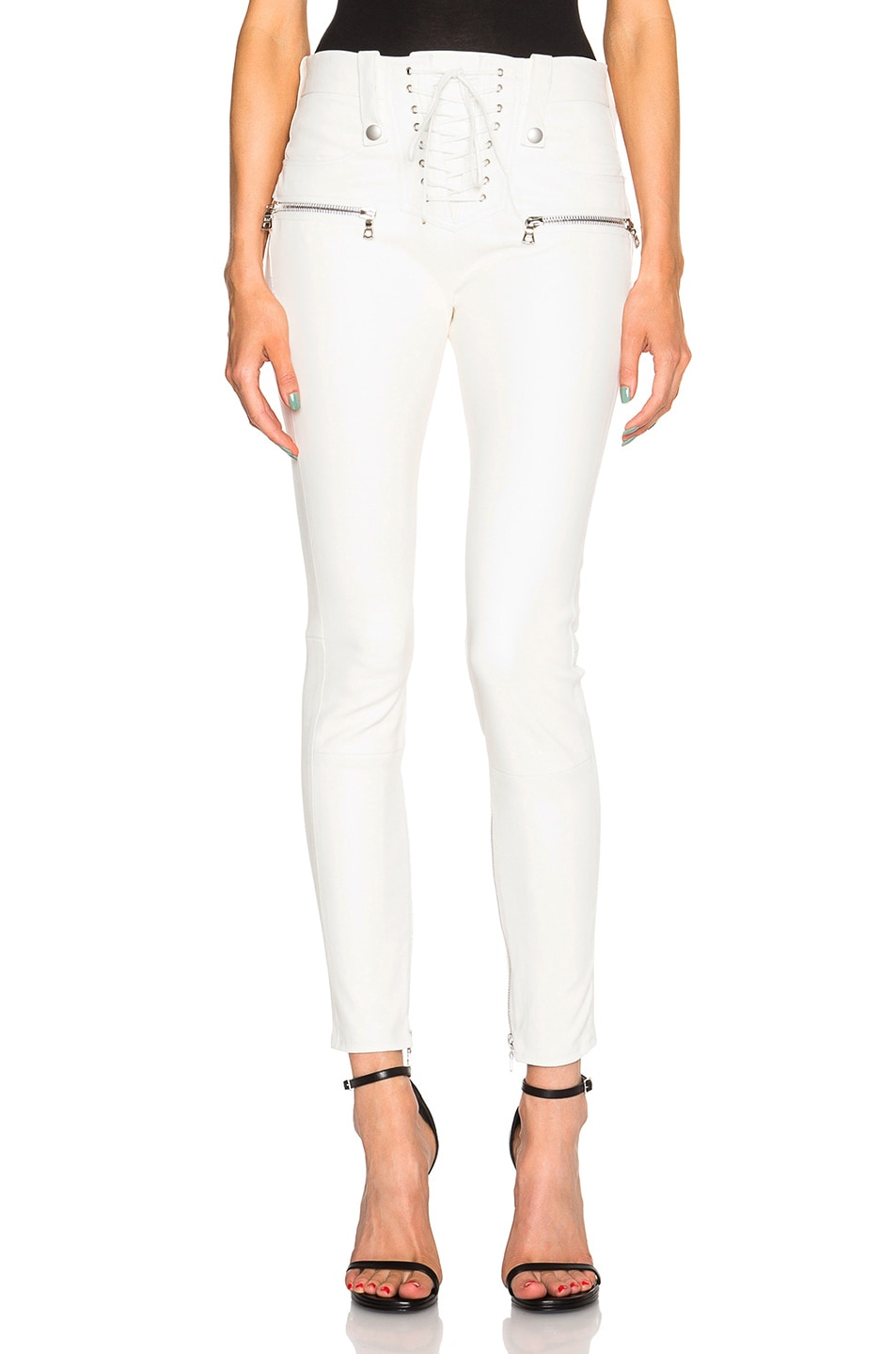 Image 1 of Unravel Lambskin Lace Up Skinny Pants in Creme