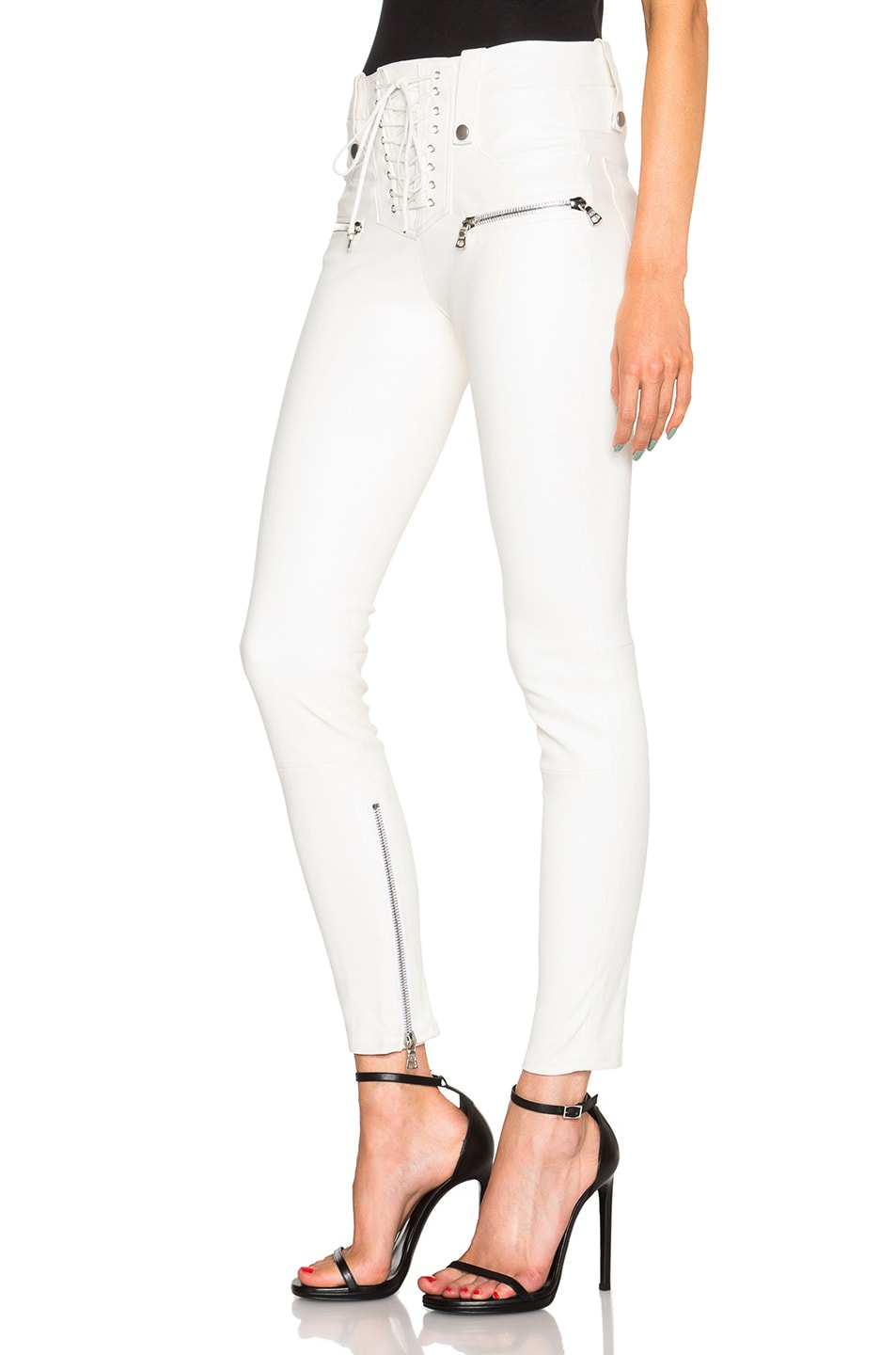 Image 2 of Unravel Lambskin Lace Up Skinny Pants in Creme