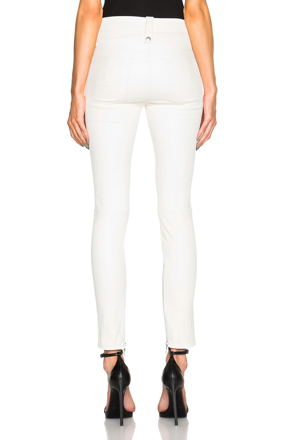 Image 4 of Unravel Lambskin Lace Up Skinny Pants in Creme