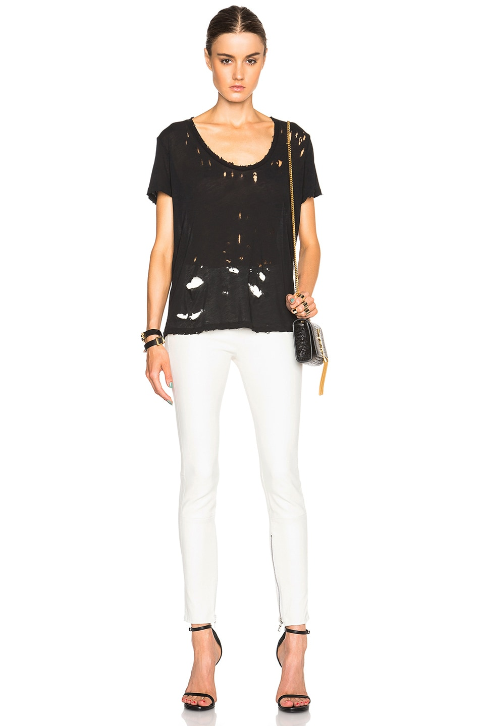 Image 5 of Unravel Lambskin Lace Up Skinny Pants in Creme