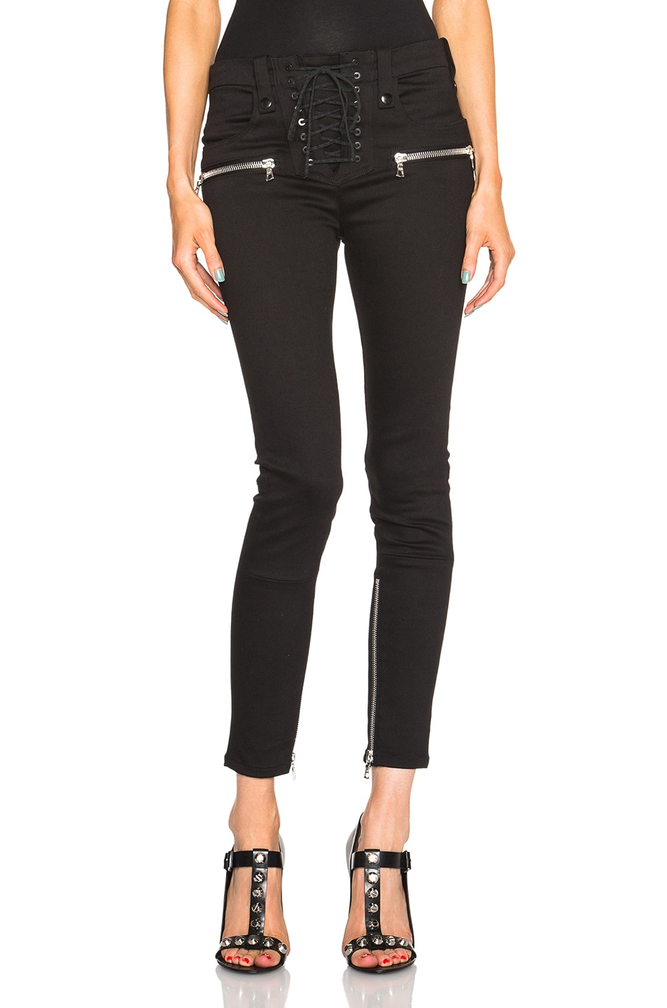 Image 1 of Unravel Lace Up Skinny Pants in Black