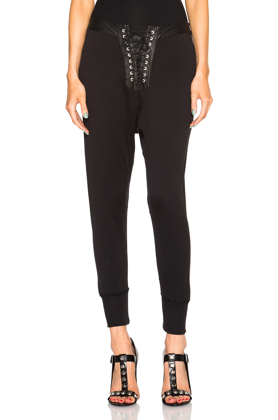 Image 1 of Unravel Lace Up Leggings in Black