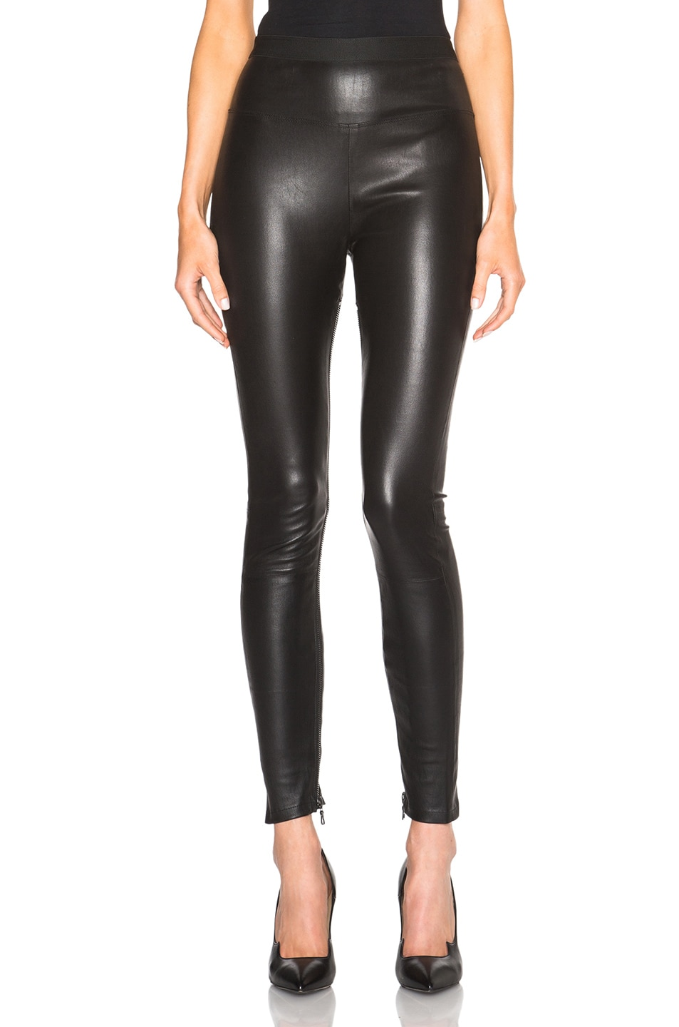 8be2efcf4a05 Image 1 of Unravel High Waist Zip Leather Leggings in Black