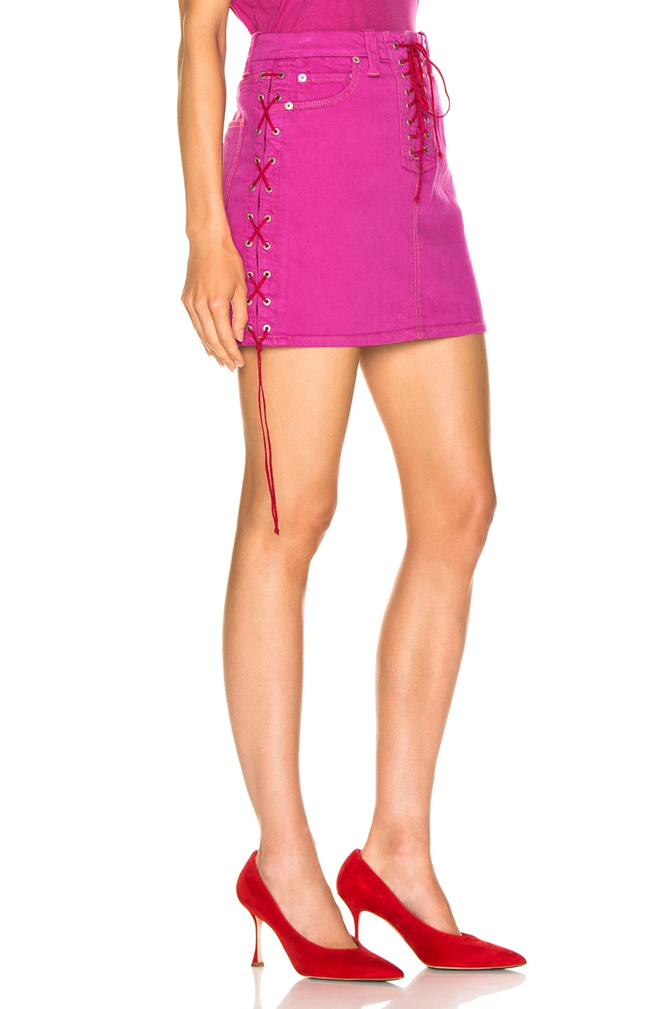 Image 2 of Unravel Overd Side Lace Up Skirt in Fuchsia