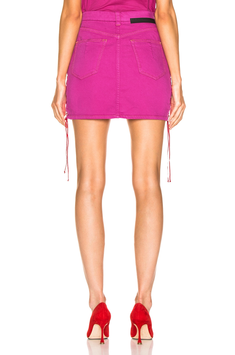 Image 3 of Unravel Overd Side Lace Up Skirt in Fuchsia