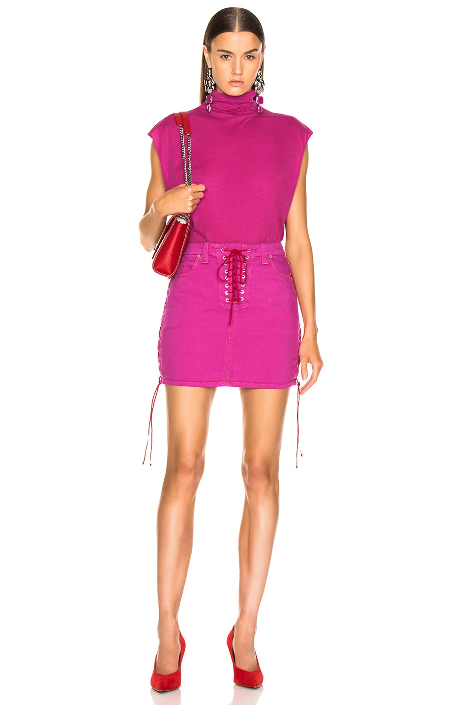 Image 4 of Unravel Overd Side Lace Up Skirt in Fuchsia