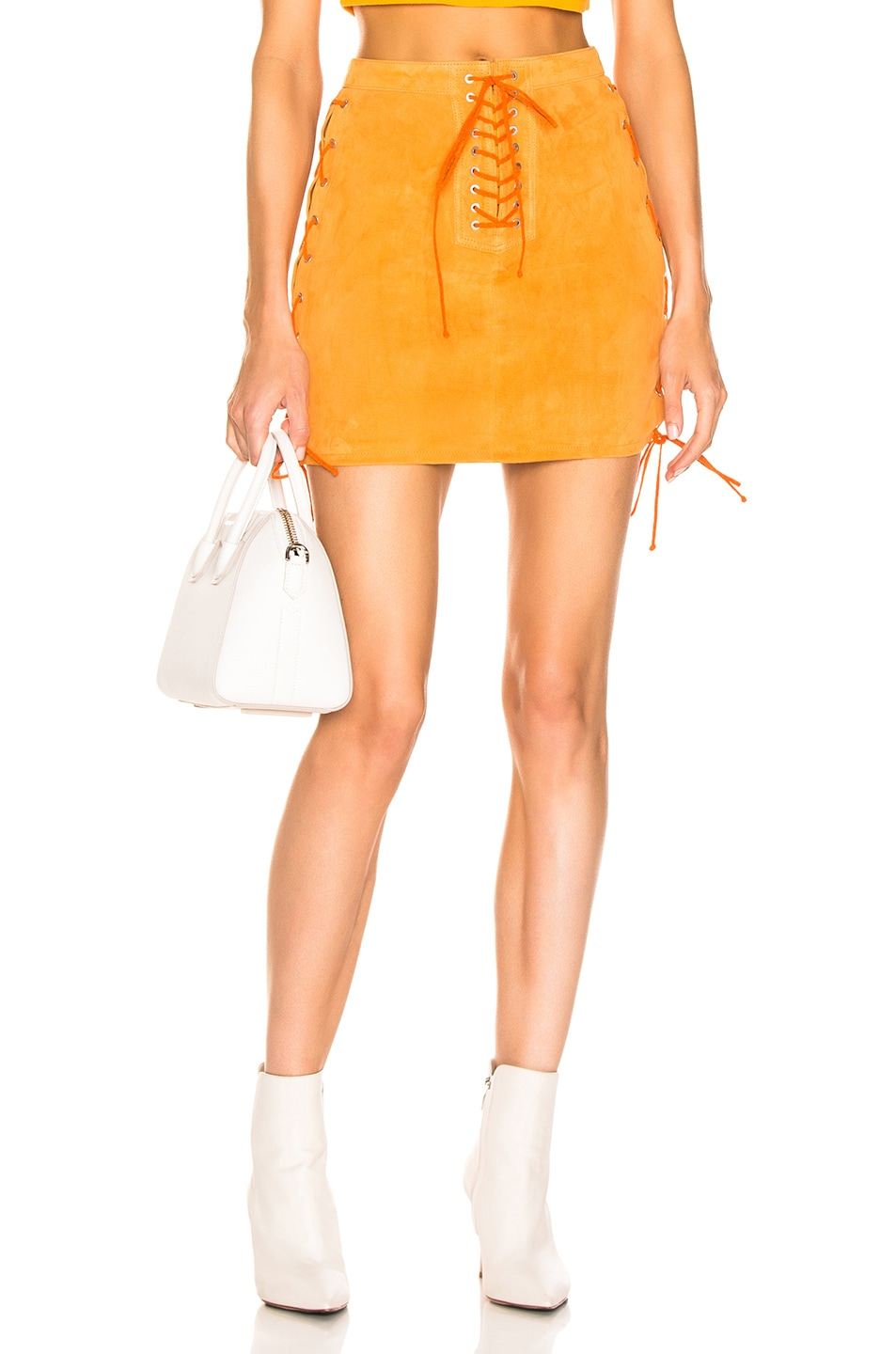 Image 1 of Unravel Suede Side Lace Up Skirt in Orange