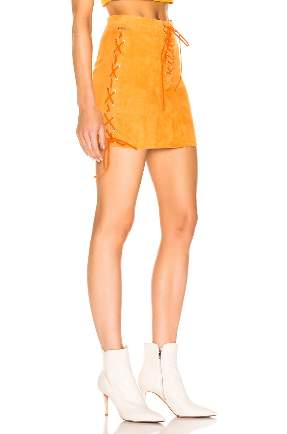 Image 2 of Unravel Suede Side Lace Up Skirt in Orange