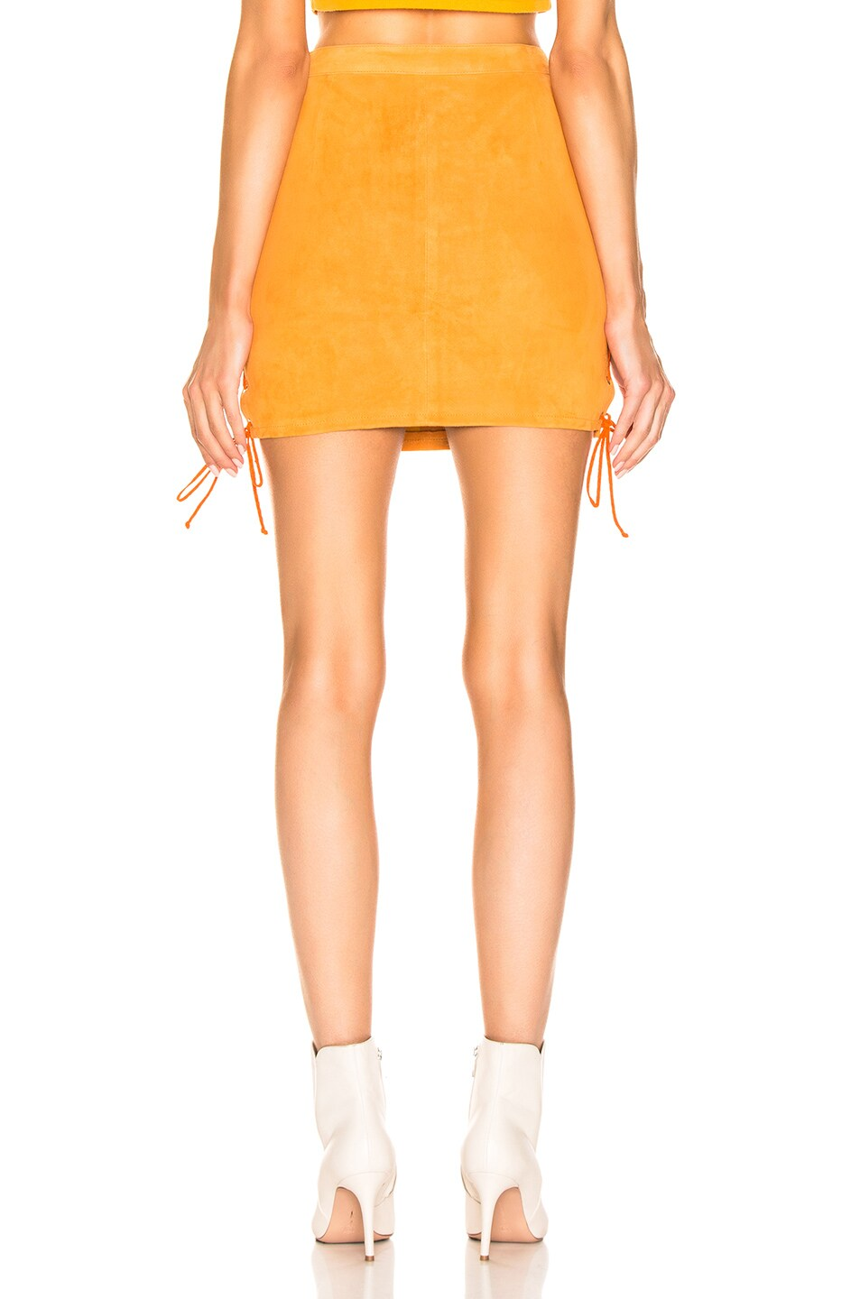 Image 4 of Unravel Suede Side Lace Up Skirt in Orange