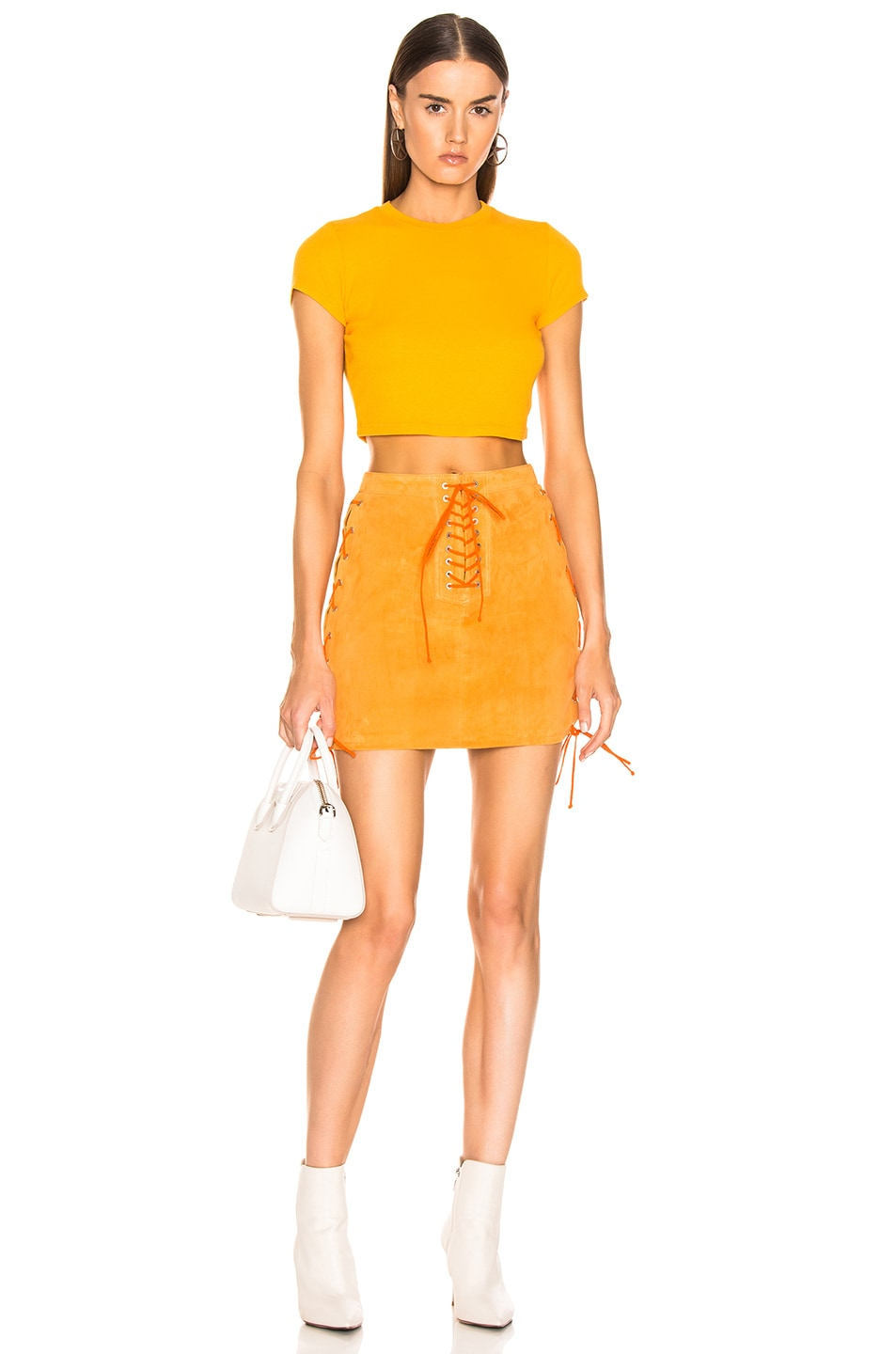 Image 5 of Unravel Suede Side Lace Up Skirt in Orange