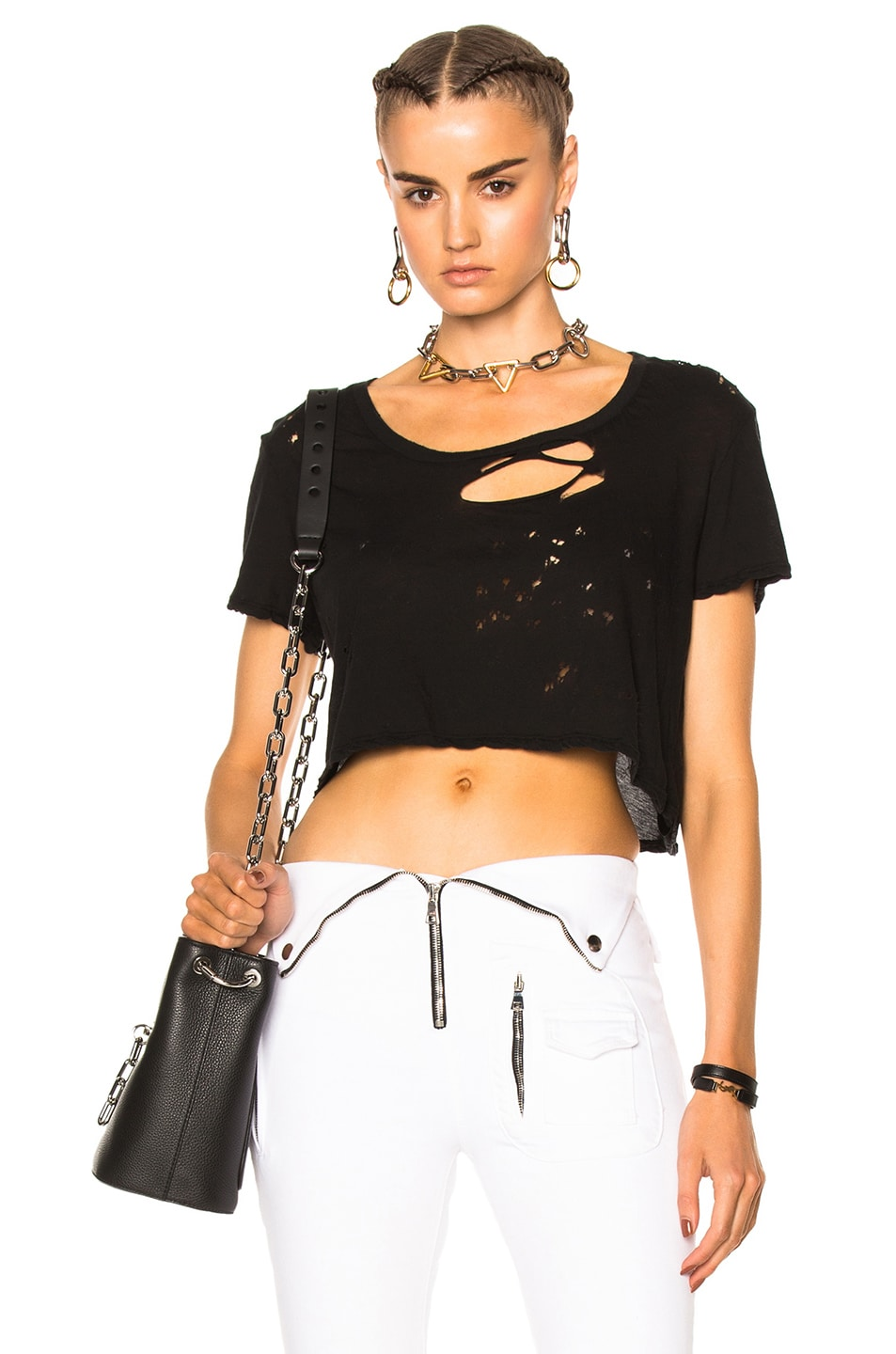 Image 1 of Unravel Distress Cropped Basic Tee in Black
