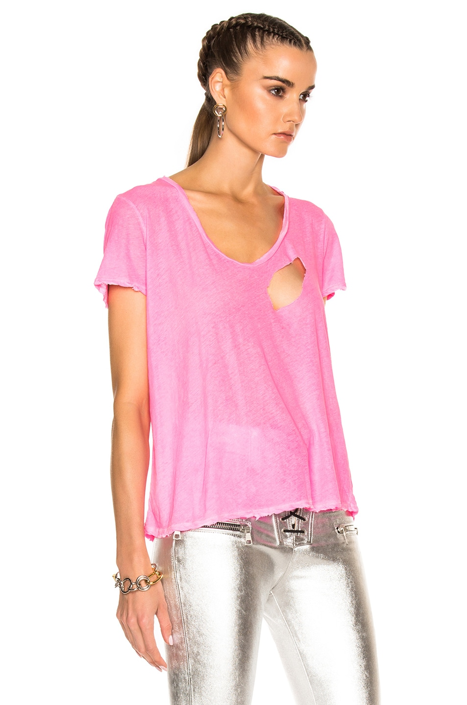 Distressed Jersey Basic Tee in Pink Unravel 2018 New ggp4gskBbK