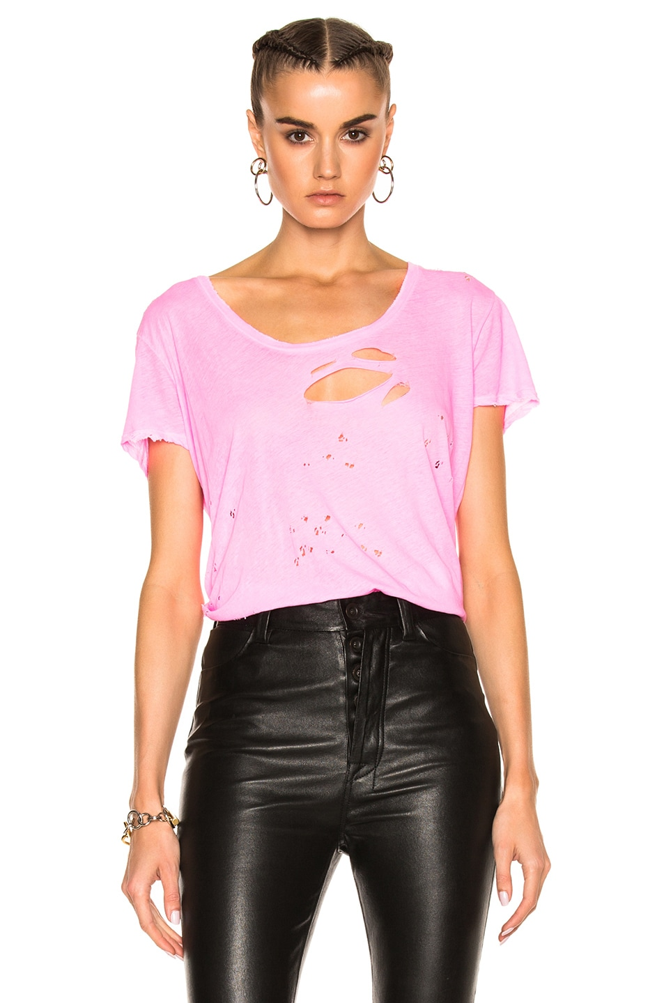 Image 1 of Unravel Distressed Jersey Basic Tee in Fuschia