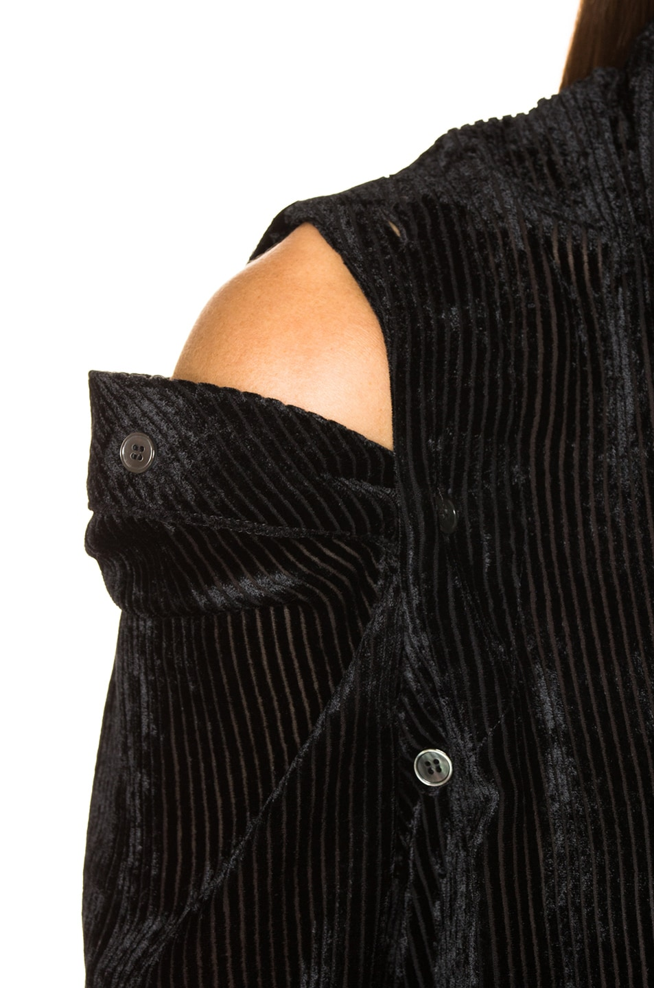 Image 6 of Unravel Stripe Velour Open Buttons Top in Black