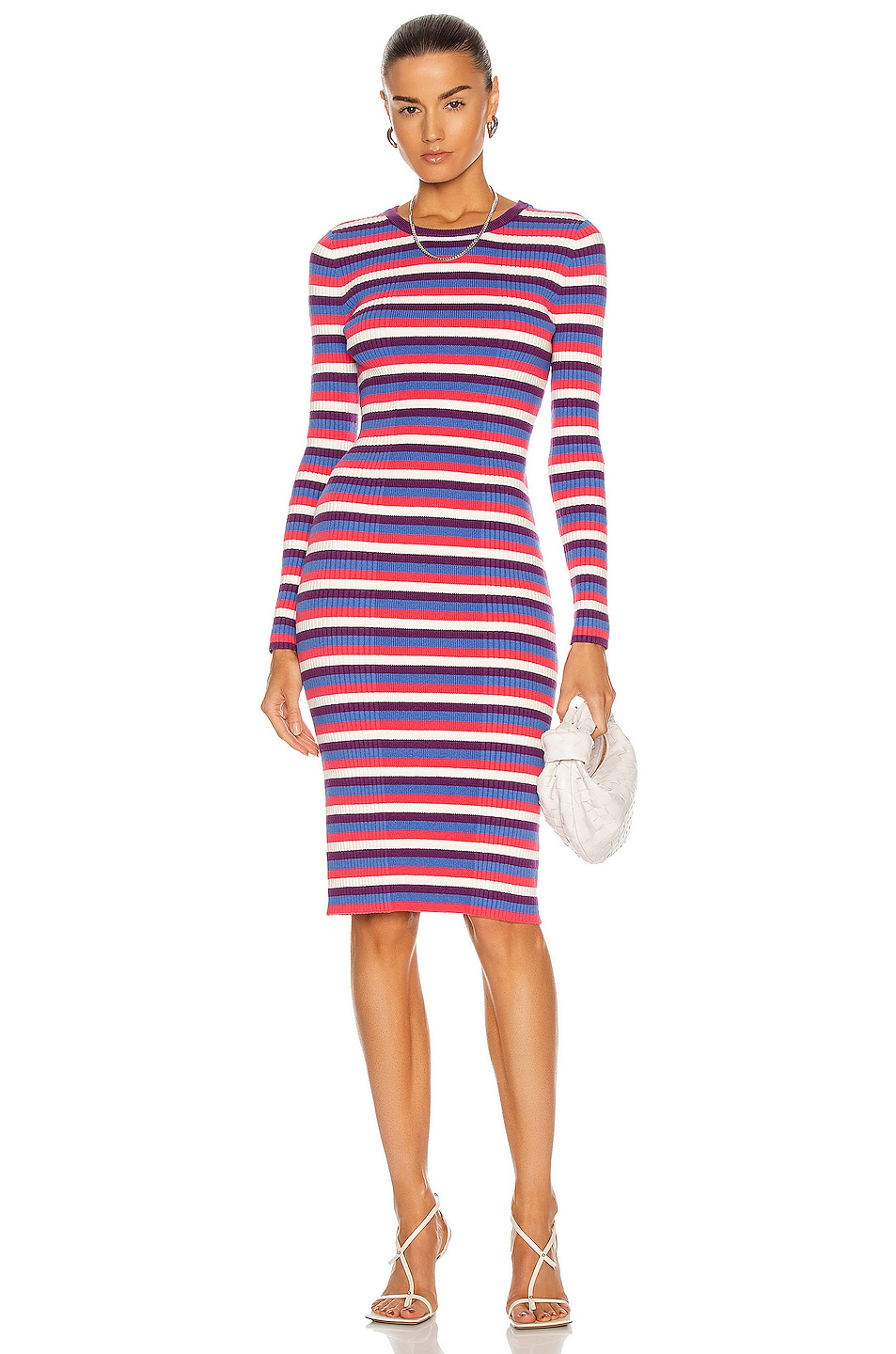 Image 1 of Victor Glemaud Variegated Rib Dress in Blue Multi Stripe
