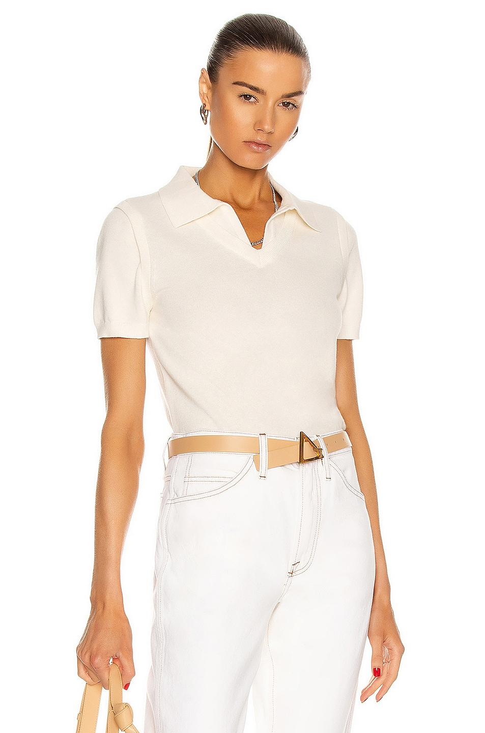 Image 1 of Victor Glemaud Color Block Polo Top in White