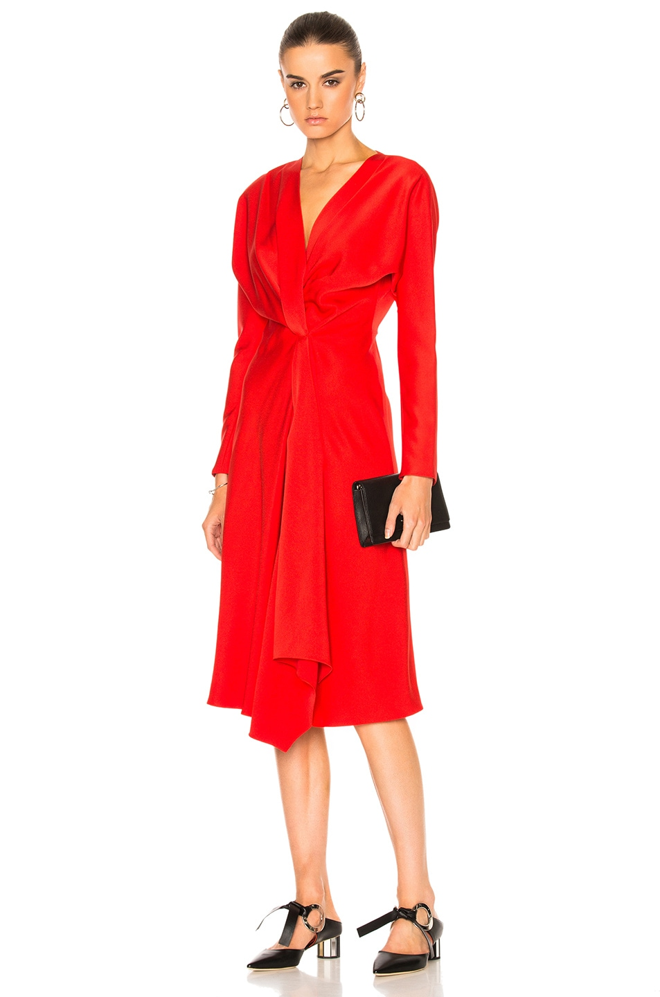 2fb9888891c2 Image 1 of Victoria Beckham Crepe Back Satin Drape Wrap Dress in Candy