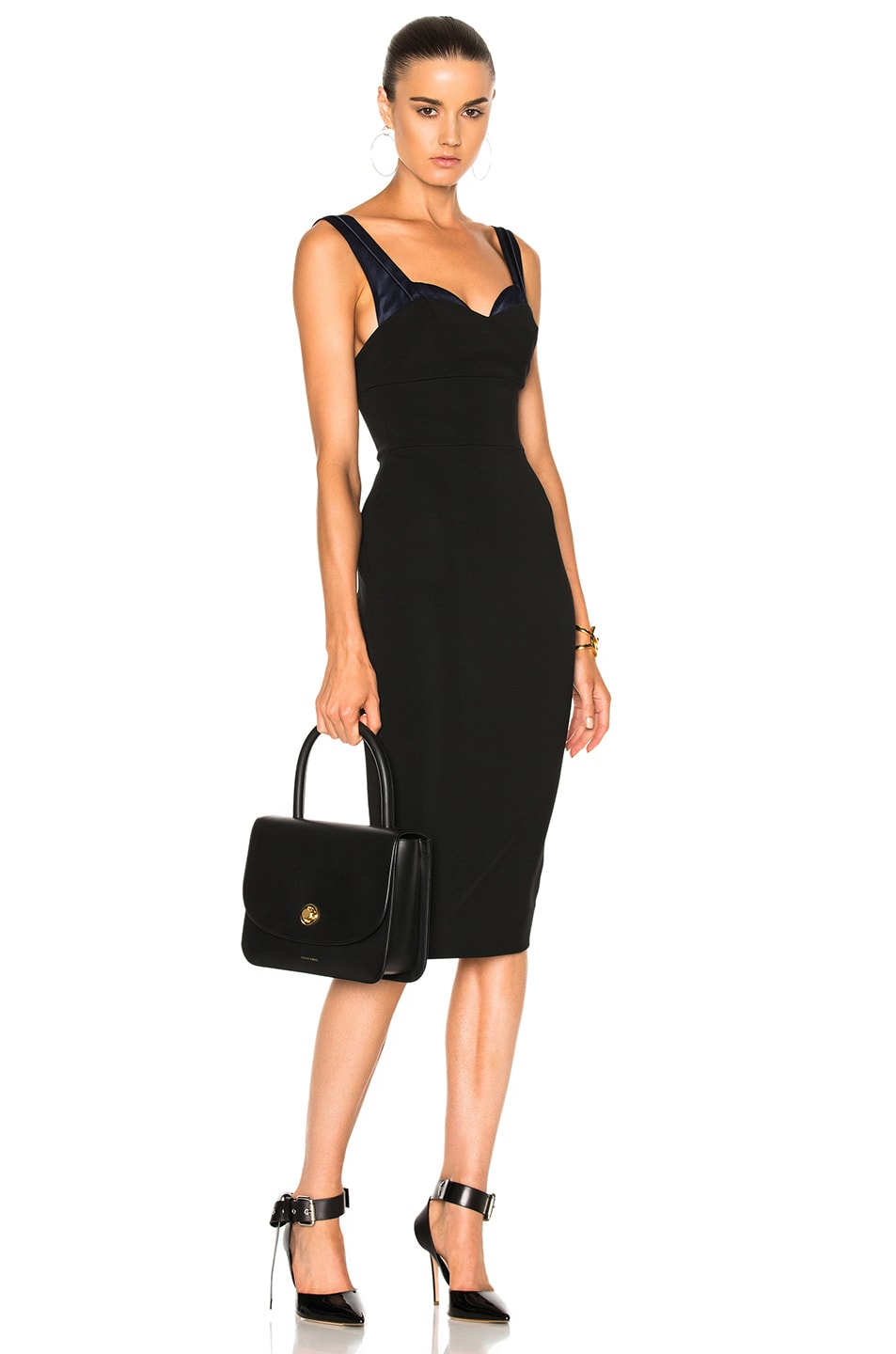 Image 1 of Victoria Beckham Dense Rib Trompe L'Oeil Fitted Dress in Black