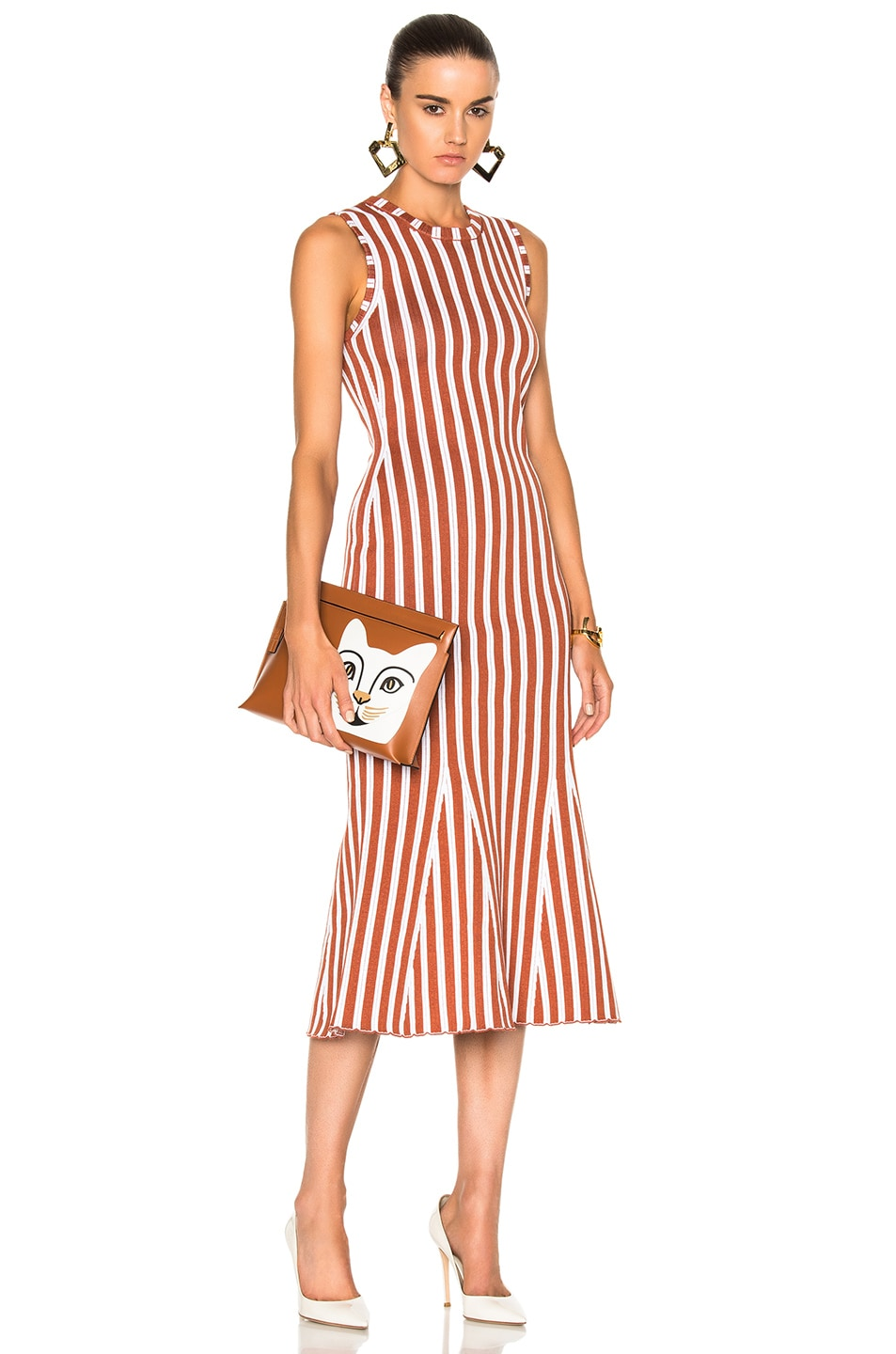 Image 1 of Victoria Beckham Wide Stripe Intarsia Fitted Kick Dress in Copper & White