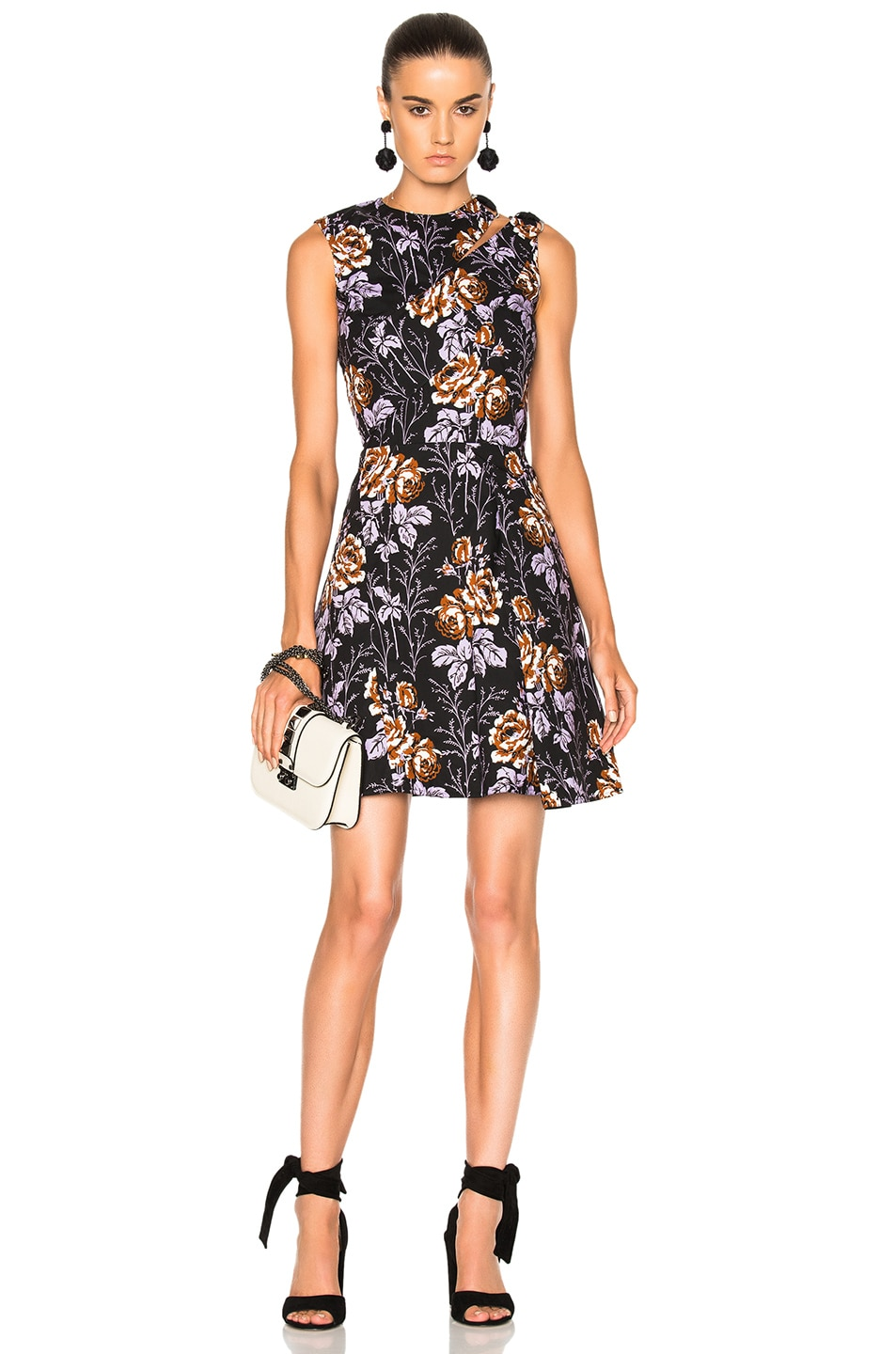 Image 1 of Victoria Beckham Cotton Print D-Ring Mini Dress in Rose Black & Lilac