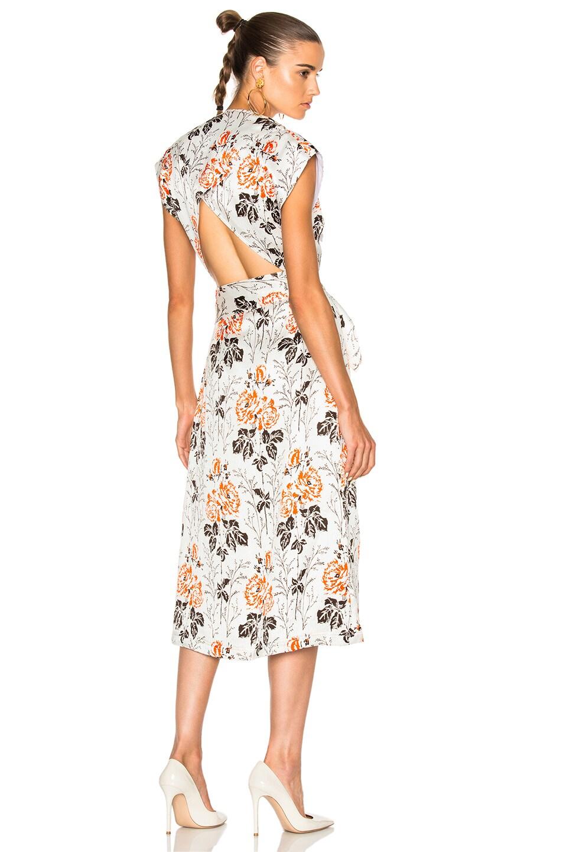 Image 1 of Victoria Beckham Crepon Print Belted Wrap Midi Dress in Rose White & Orange