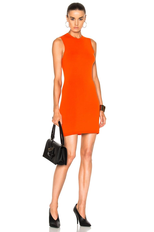 Victoria, Victoria Beckham Woman Open-back Ribbed Stretch-jersey Dress Orange Size 6 Victoria Beckham