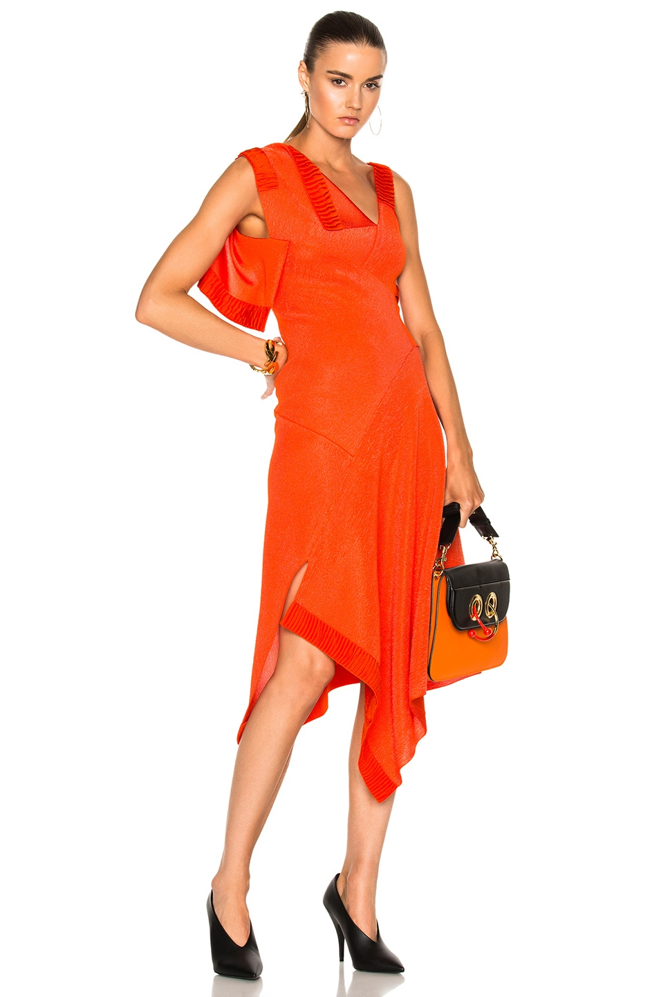 Image 1 of Victoria Beckham Double Face Shine Patchwork Dress in Bright Orange
