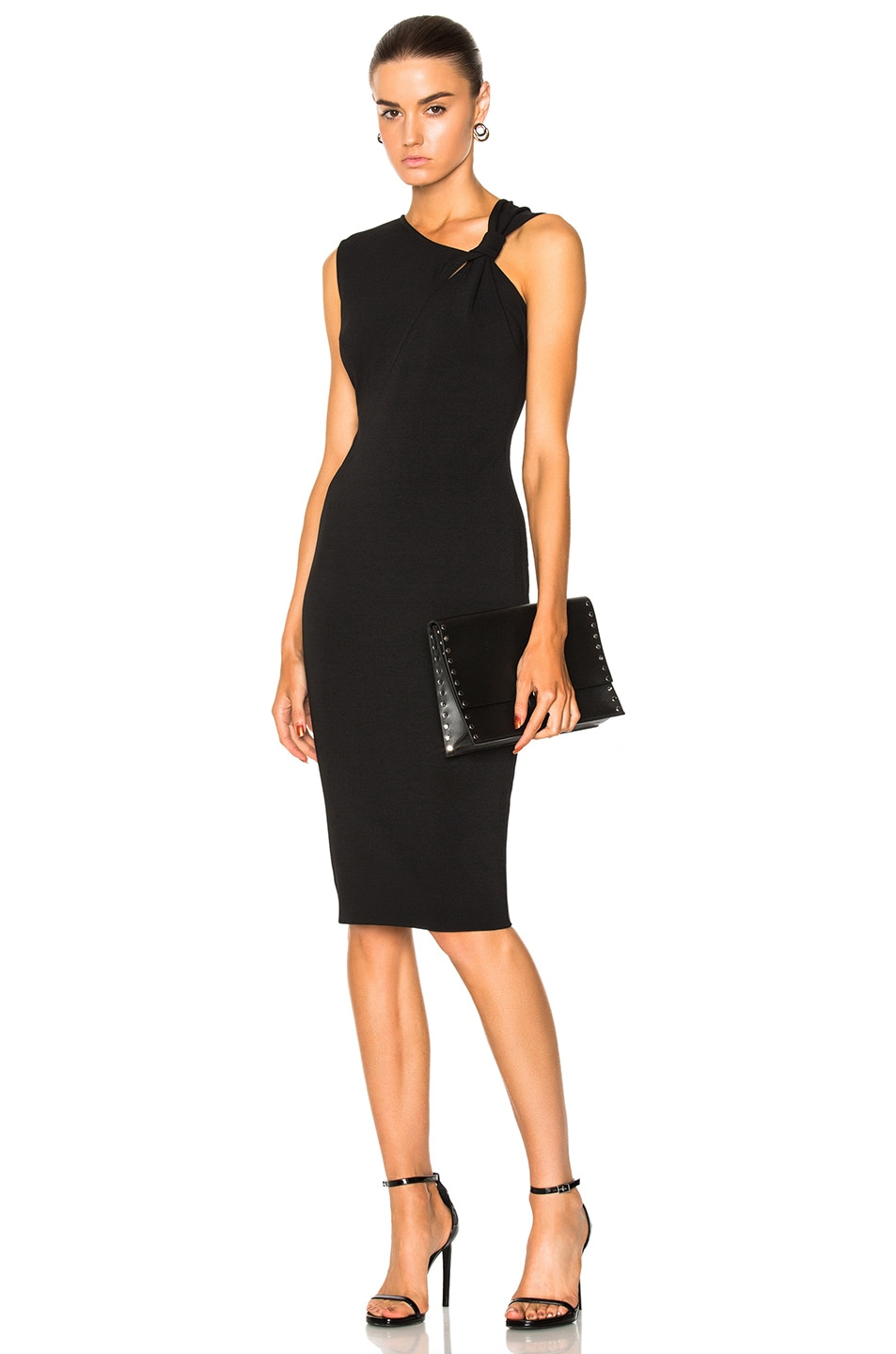 Victoria Beckham Matte Heavy Rib Jersey Sleeveless Knotted Dress in Black