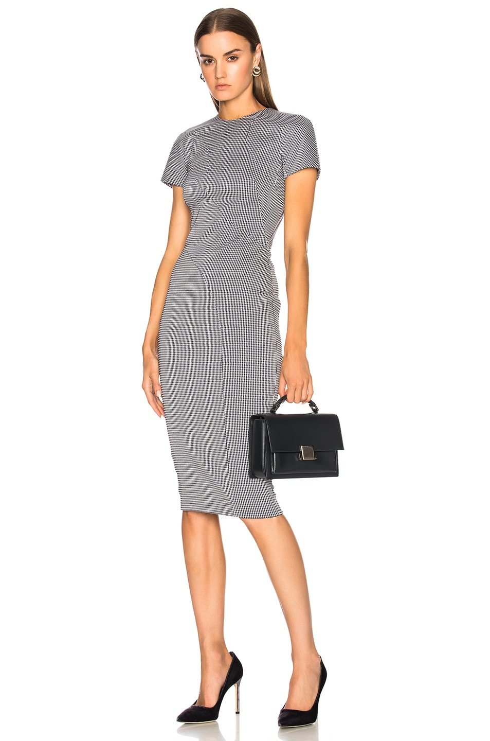 Victoria Beckham Graphic Houndstooth Paneled Fitted Midi Dress in ...