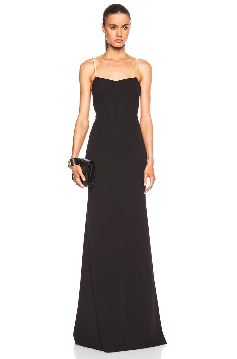 Image 1 of Victoria Beckham Cami Floor Length Gown in Nude & Pom Pom Black