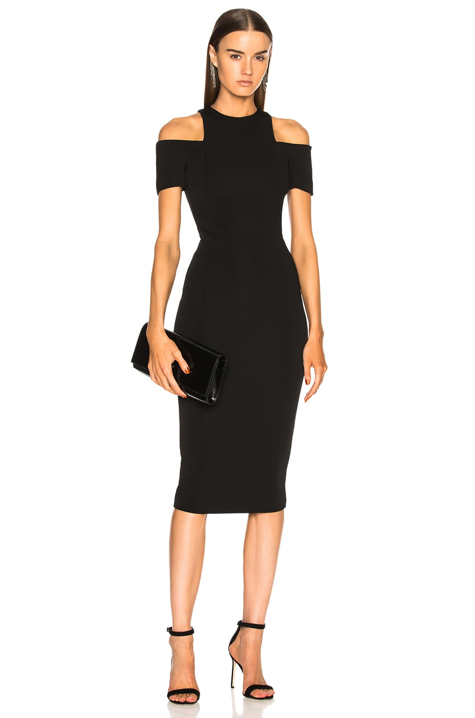 Victoria Beckham Cap Sleeve Cutout Fitted Midi Dress in Black