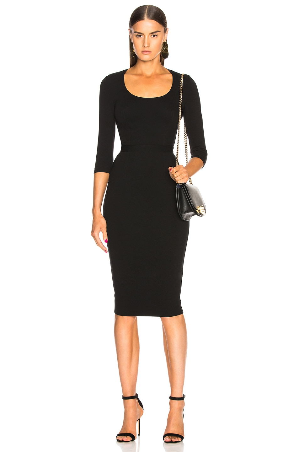 415d9814cac9 Image 1 of Victoria Beckham 3 4 Sleeve Scoop Neck Fitted Midi Dress in Black