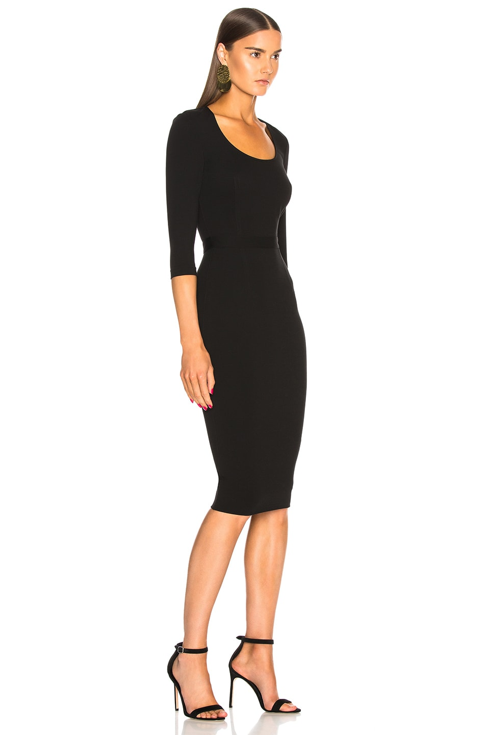 22dba49bb520 Image 2 of Victoria Beckham 3 4 Sleeve Scoop Neck Fitted Midi Dress in Black