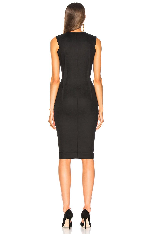 Image 3 of Victoria Beckham V-Neck Fitted Dress in Black