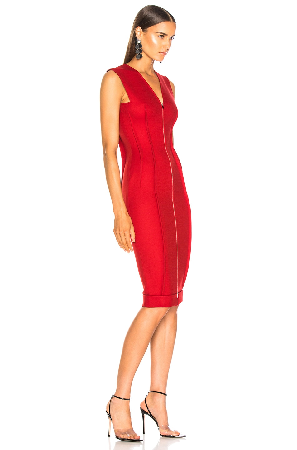 Image 2 of Victoria Beckham V-Neck Fitted Dress in Red