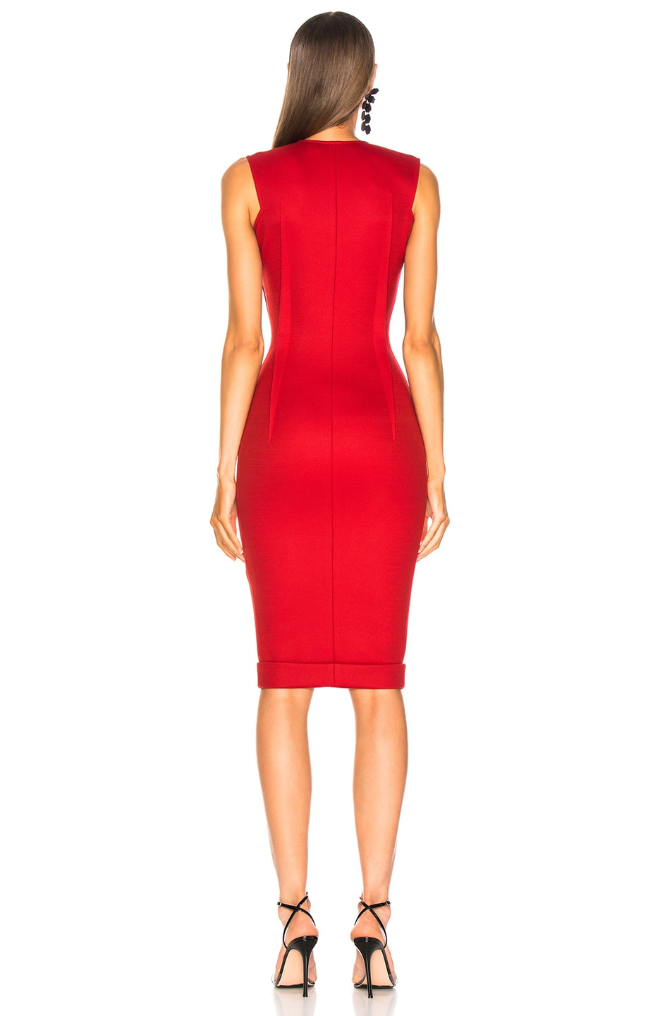 Image 3 of Victoria Beckham V-Neck Fitted Dress in Red