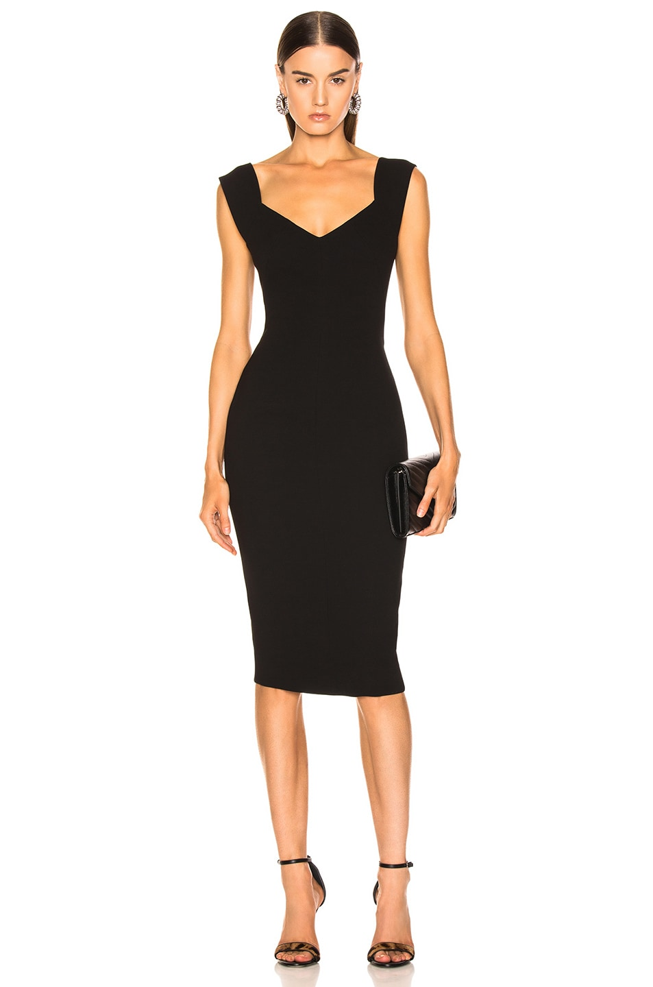 Image 1 of Victoria Beckham Fitted Dress in Black