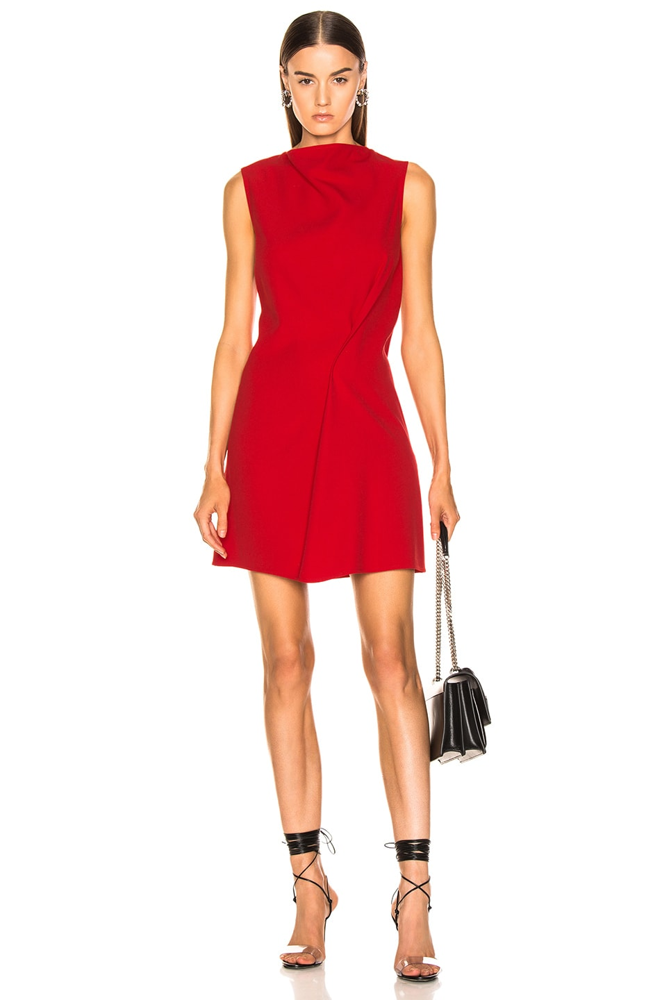Image 1 of Victoria Beckham Side Drape Tunic Dress in Candy