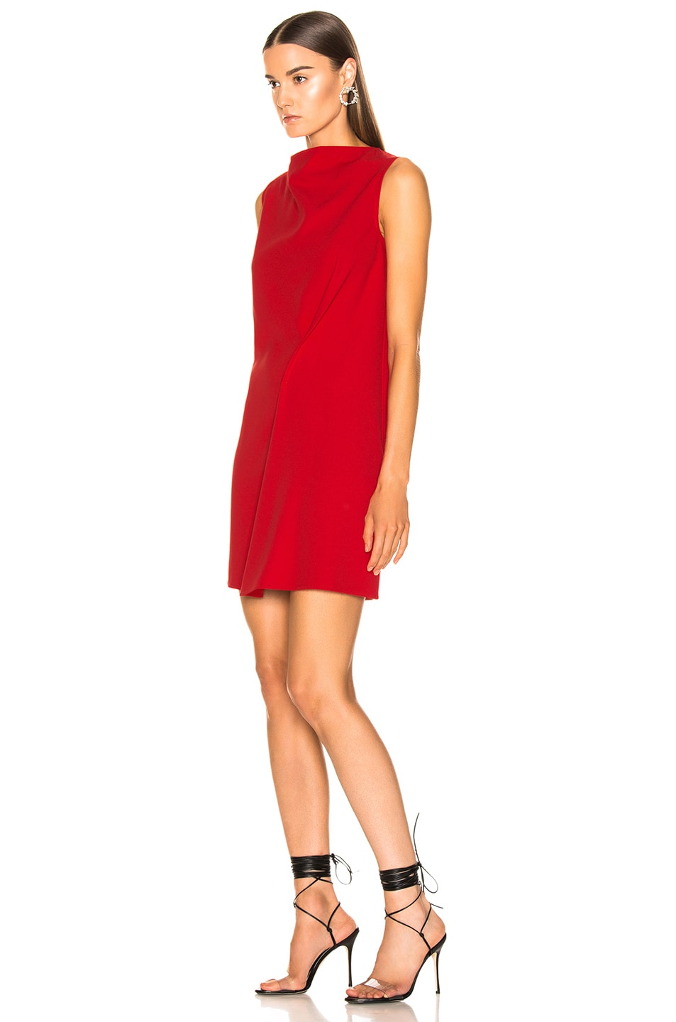 Image 3 of Victoria Beckham Side Drape Tunic Dress in Candy