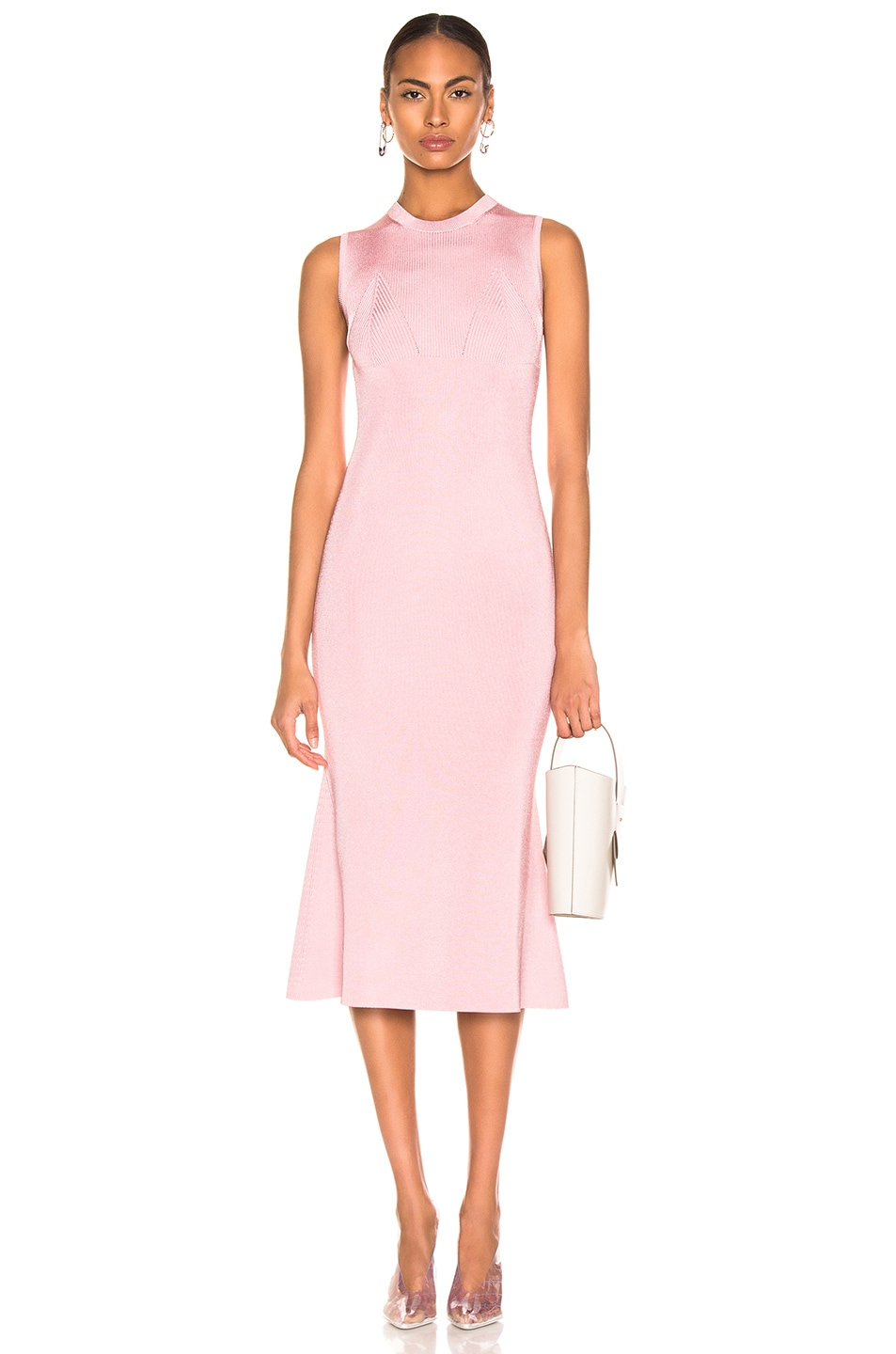 Image 1 of Victoria Beckham Tromp L'oeil Flared Dress in Light Pink