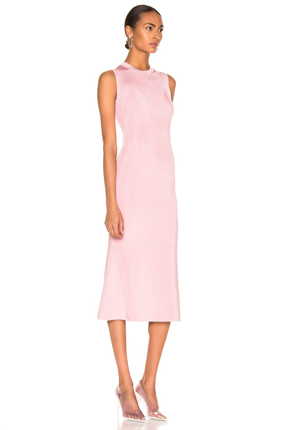 Image 2 of Victoria Beckham Tromp L'oeil Flared Dress in Light Pink