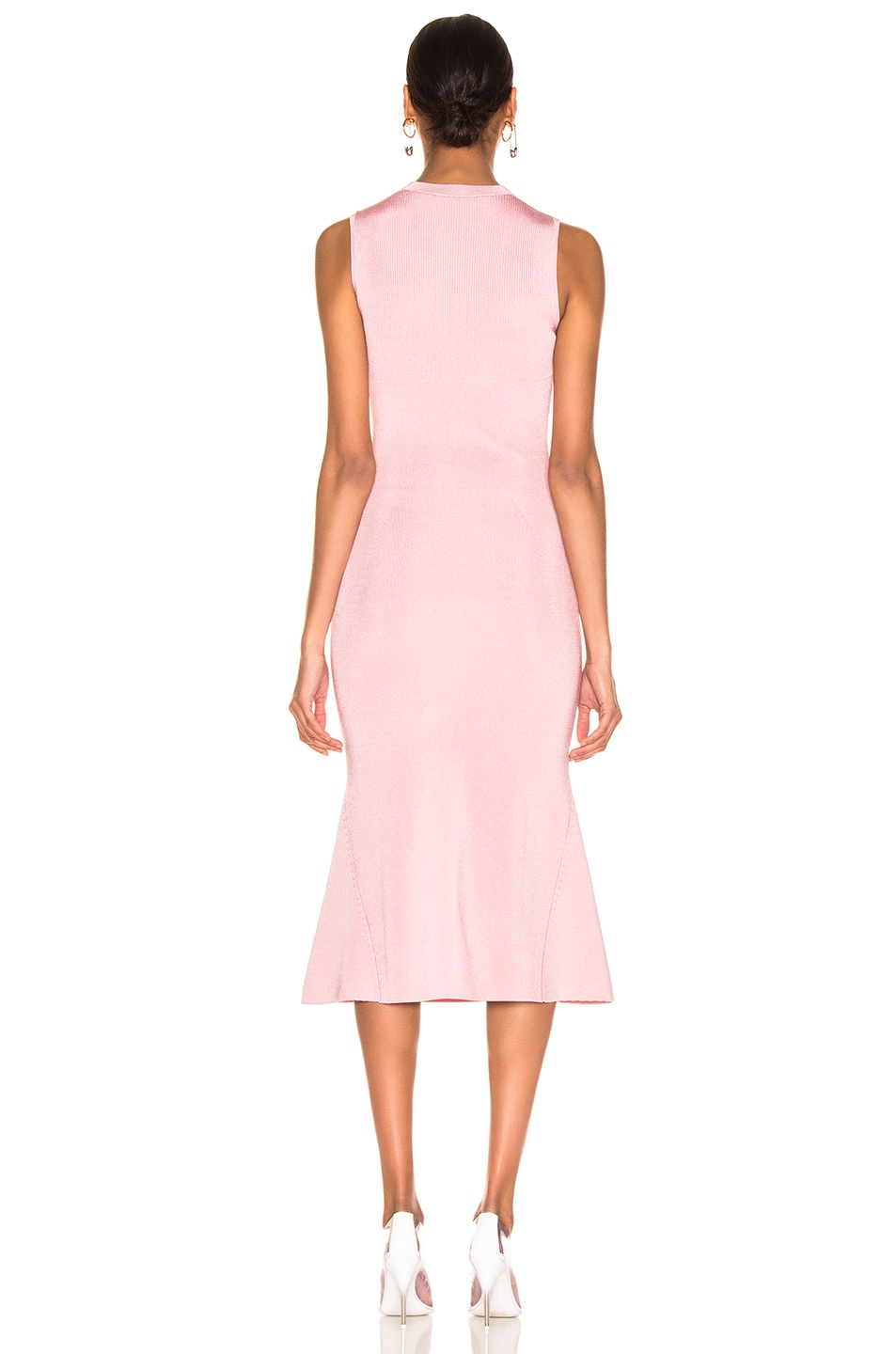 Image 3 of Victoria Beckham Tromp L'oeil Flared Dress in Light Pink