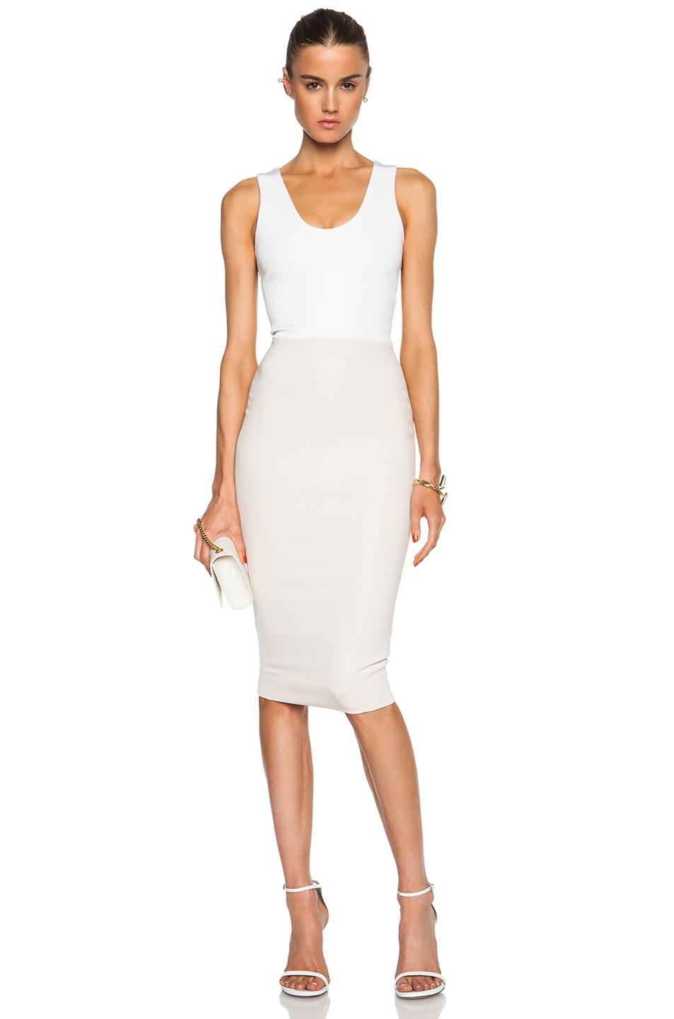 Image 1 of Victoria Beckham Fitted Dress in Blonde & White