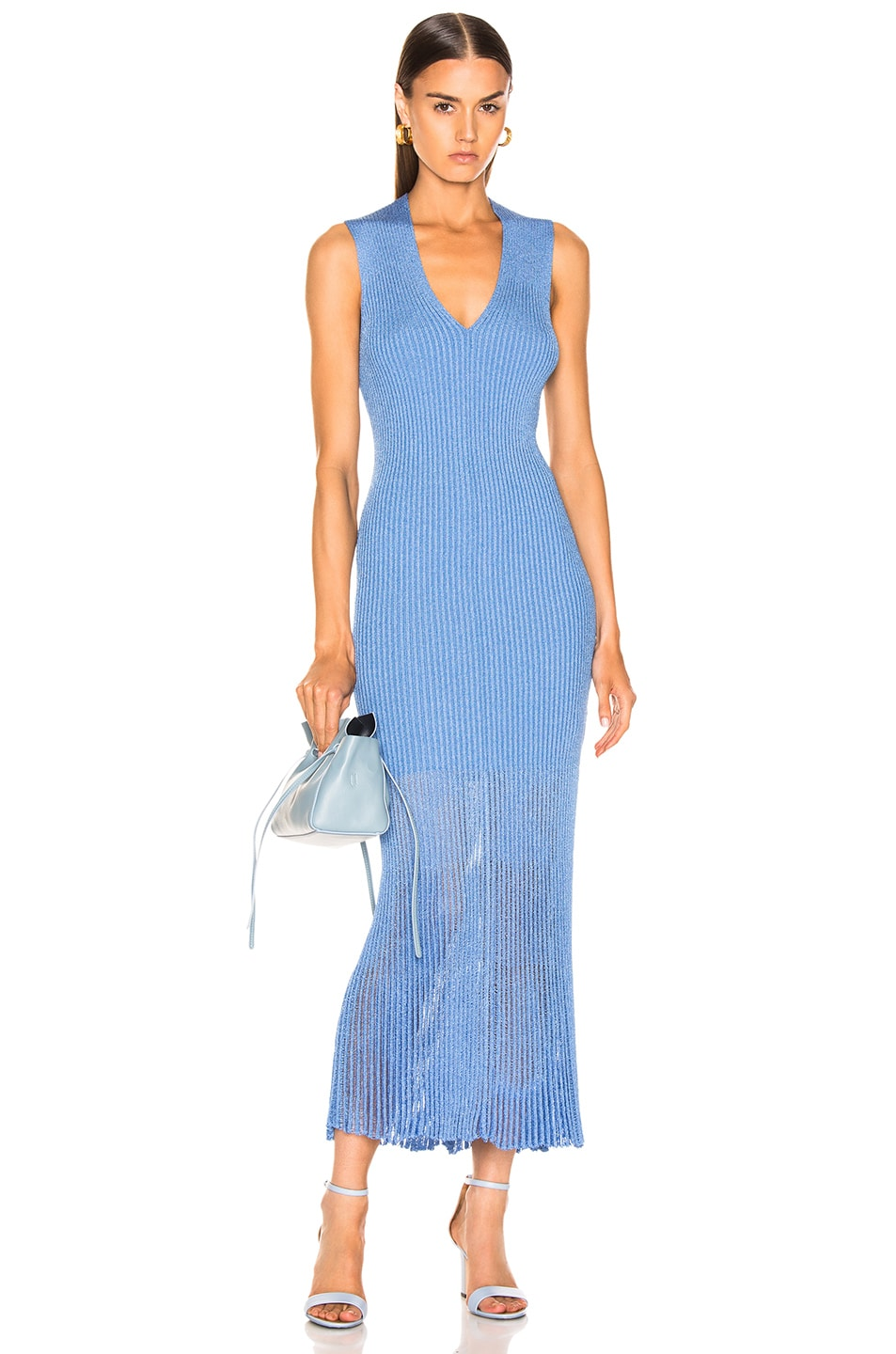 Image 1 of Victoria Beckham V Neck Rib Dress in Cornflower Blue