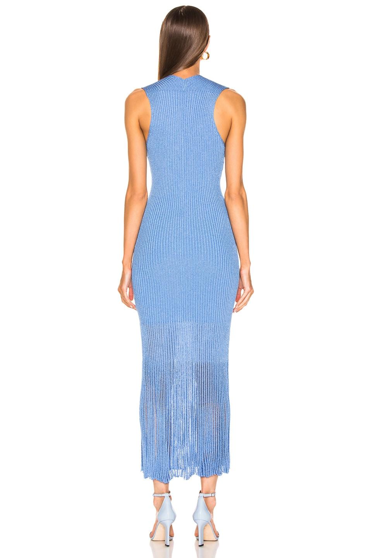 Image 3 of Victoria Beckham V Neck Rib Dress in Cornflower Blue
