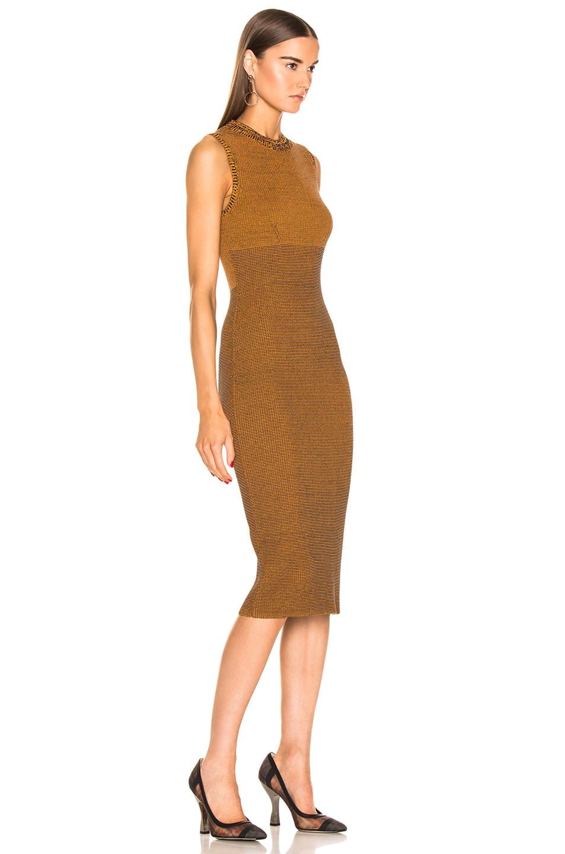 Image 2 of Victoria Beckham Sleeveless Crewneck Dress in Amber & Navy